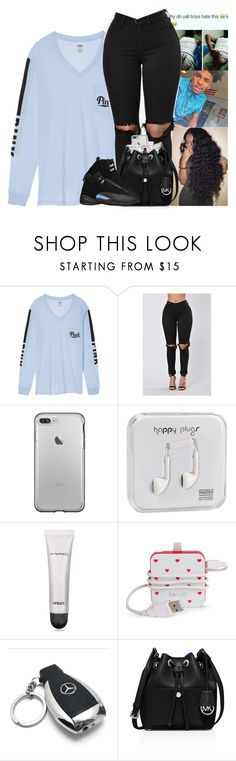 """""""Heading to bae house💎"""" by kennisha84 ❤ liked on Polyvore featuring Victoria's Secret, Happy Plugs, MAC Cosmetics, Bando, Mercedes-Benz and MICHAEL Michael Kors"""