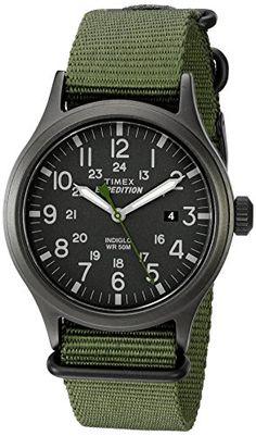Timex Men's TW4B047009J Expedition Scout Green Nylon Slip-Thru Strap Watch