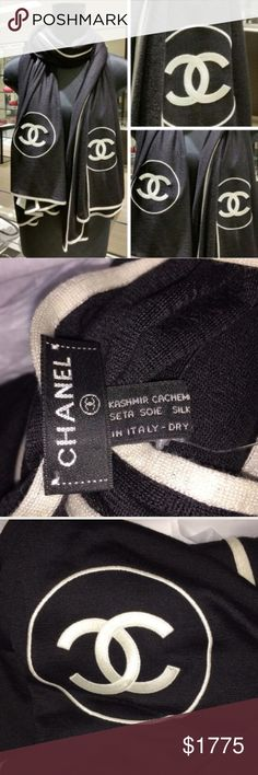 Authentic Chanel long scarf Cashmere & silk. authentic CHANEL long scarf. 80 inches inches long and 40 inches wide. ❤️❤️❤️ NEW with Tags removed but tag comes with. black and ivory in color. I can't go much lower. Already taking a big loss. No ️ but is listed on Ⓜ️. Black and ivory colored. Box is available. CHANEL Accessories Scarves & Wraps