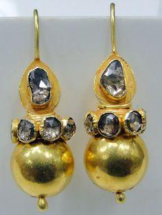 1910 18k yellow gold rose cut diamond earrings