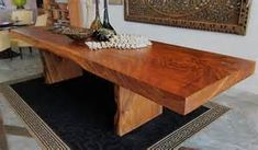 acacia large slab table this is a large solid acacia wood slab table ...