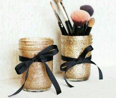 Glittered mason jars