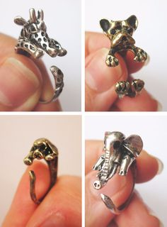 Animal Rings Bunny Ring Puppy Ring Dog Ring door TriangleJewelry