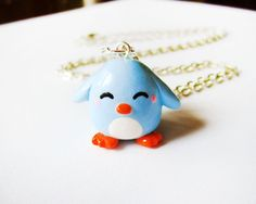 Pastel Blue Penguin Necklace Polymer Clay Charm by MadAristocrat, $12.00