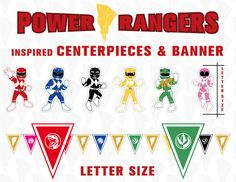 Power Rangers inspired CENTERPIECES and BANNER - Letter size - Birthday party kit - Party Printables files di JoIdeasArtworks su Etsy