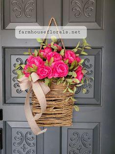 Beautiful Dark Pink Ranunculus Front Door Basket