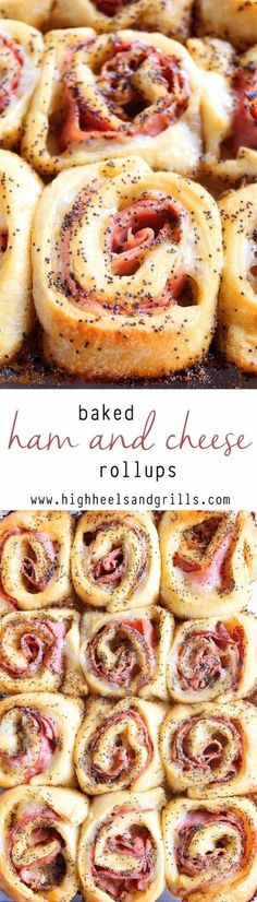 Ham and Cheese Rollups Baked Ham and Cheese Rollups - a crowd pleaser at every Sunday brunch!Baked Ham and Cheese Rollups - a crowd pleaser at every Sunday brunch! Snacks Für Party, Appetizers For Party, Appetizer Recipes, Delicious Appetizers, Cheese Appetizers, Cheese Food, Game Party, Easy Potluck Recipes, Cheese Snacks
