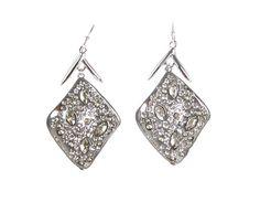 Alexis Bittar Miss Havisham Crystal Encrusted Diamond Shape Earrings - Rhodium