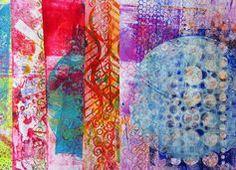 Frieda Oxenham: Gelli Paper Prints - using Balzer Designs stencils