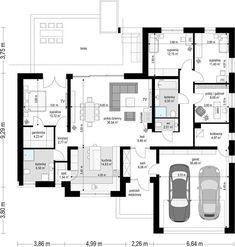 Projekt domu Willa Parterowa 2 135,75 m² - koszt budowy - EXTRADOM House Layout Plans, Family House Plans, Best House Plans, Dream House Plans, House Layouts, Home Building Design, Home Design Plans, Building A House, Modern House Facades