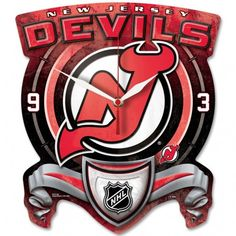 Officially licensed New Jersey Devils Plaque Style clock is uniquely shaped and has dynamic full color Devils graphics with a durable matte finish. The clock has a high quality quartz movement with a