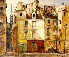 Quai aux fluers, Notre Dame de Paris - Leonard Foujita