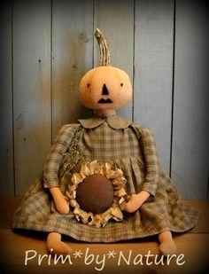 Primitive Pumpkin Doll with Real Pumpkin Stem Green Dress and Sunflower