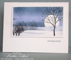 handmade greeting card ... serene winter evening scene ... sponged landscape with stamped tree skeletons ... lovely  work of art by Heather Telford ...