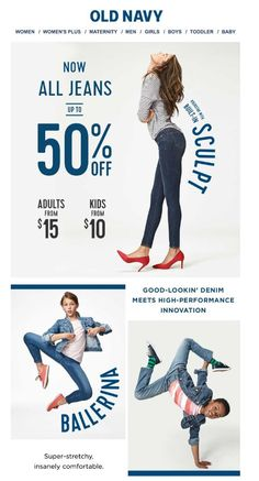 old navy denim email Email Template Design, Email Newsletter Design, Email Newsletters, Website Design Layout, Layout Design, E-mail Design, Email Marketing Design, Marketing Ideas, Business Marketing