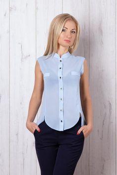 голубой Тонкая полупрозрачная блузка из креп-шифона | Женские блузки, рубашки