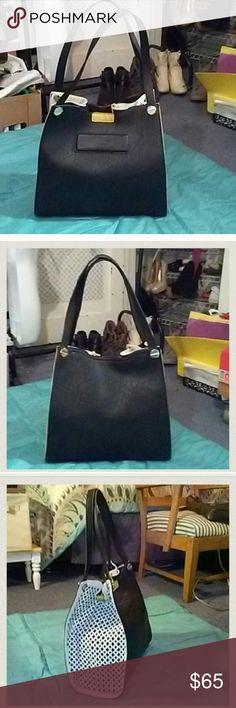 Lowered price *** Big Buddha bag Black and white Big Buddha bag with yellow strap closer. Reposhed Big Buddha Bags Shoulder Bags