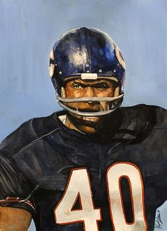 Gale Sayers of the Chicago Bears watercolor painting by sports artist Michael Pattison.