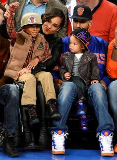 Alicia Keys cheered on the New York Knicks with stepson Kasseem alongside hubby Swizz Beats and son Egypt at Madison Square Garden in NYC Nov. 2.