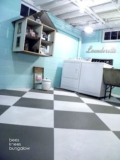 DIY: #Unfinished basement ceiling white with a black and white #painted floor.  NOTE:  You will find other unfinished basement decorating ideas on my board specifically dedicated to that topic. You might also find two other boards (DIY & CRAFTS, and THRIFT STORE DECOR) to be of interest.