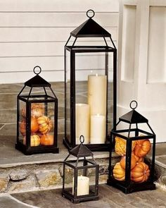 Lantern, Bronze Finish, Small Fall Decor - Front Porch Lanterns Filled with Mini Pumpkins and Gourds.Fall Decor - Front Porch Lanterns Filled with Mini Pumpkins and Gourds. Halloween Veranda, Casa Halloween, Halloween Party, Modern Halloween, Outdoor Halloween, Fall Home Decor, Autumn Home, Diy Autumn, Fall Mantle Decor