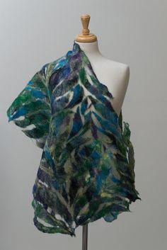 Nuno felted scarf, felted scarf, felt scarf, Nuno felt, silk scarf, wool, silk…