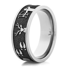 Mens Flat Profile Titanium Camo Ring Camo Camo wedding and Ring