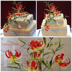 {Gorgeous Flame Lily cake toppers by Callicious Cakes}