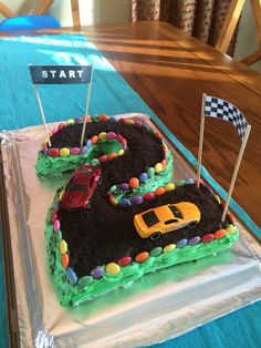 Race track cake I made for my 2 year old's birthday party