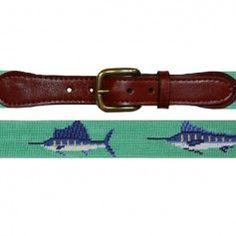 Smathers & Branson Bill Fish Needlepoint Belt - Mint