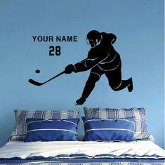 ALL HOCKEY STICKERS Hockey Goalie, Hockey Mom, Hockey Players, Ice Hockey, Wall Stickers Room, Wall Decals, Hockey Bedroom, Sport Theme, Hockey Gifts