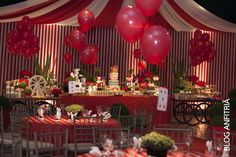 festa de circo, decoração de circo, mesas decoradas, tablescape, candy, red, clown, kids party, party ideas, dessert tables,