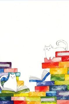 #35 本の上のネコ」TITLE: Cats on Books ... 伊藤彩恵子(ito saeko) 画家/イラストレーター/えはがきや 使用画材:水彩/アクリル/油彩/ペン/版画/クレヨン/色鉛筆/ ARTIST: © Aya Keiko Ito (Tokyo, Japan) ... Promote the Arts. Give credit where due. Pin from the Primary Source.