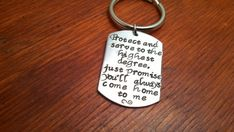 Handstamped dog tag key chain by ByalittlebitofFaith on Etsy, $22.00