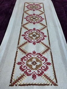 vintage linen embroidered table runner Floral Cross by Retroom