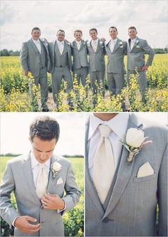 Luxe Bohemian Chic Wedding -  Groom & Groomsmen wearing light grey suits with a white gardenia.