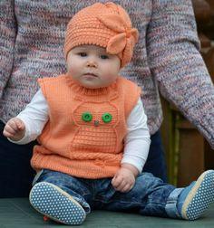 Ravelry: Wise Owl Baby Vest pattern by Tatsiana Matsiuk Knitting For Kids, Baby Knitting Patterns, Free Knitting, Knit Vest Pattern, Baby Mittens, Knitting Supplies, Baby Owls, Baby Size, Baby Sweaters