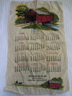 Vintage 1972 Calendar Dish Towel Lake City AR by LifeInABungalow