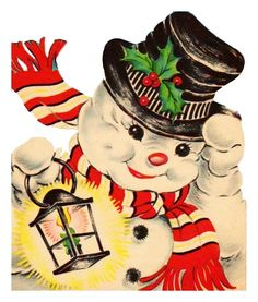 Christmas card Made from a vintage Christmas card Vintage Christmas Images, Old Fashioned Christmas, Christmas Past, Retro Christmas, Vintage Holiday, Christmas Pictures, Christmas Snowman, Christmas Decor, Vintage Images
