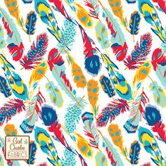 """Bold Feathers on White Cotton Jersey Blend Knit Fabric - A Girl Charlee Collection Exclusive!!  A new color version of bold multi color feathers in our Aqua Splash, Exuberance Orange, Bittersweet Red, Scuba Blue, Buttercup Yellow, Classic Blue on our signature white cotton blend jersey knit.  Fabric is soft and has a nice stretch and drape.  Largest feather measures about 6"""" long.  A versatile fabric that is great for many applications.  Made in Los Angeles!  ::  $6.60"""