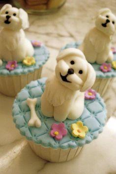 Cute dog cupcakes....Olivia, its Charlie!!!!