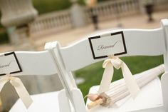 Reserved chair signs for family & parasol