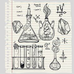 Hand drawn science beautiful vintage lab icons sketch set . Vector illustration. Back to School. Doodle lab equipment.Biology, geology alchemy, chemistry, magic, tattoo elements. Vector