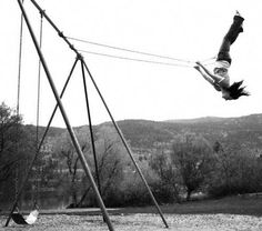 swing | high | playground | black white photography | freedom | fun | play | upside down | higher