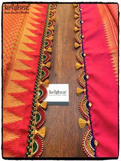 Bridal Saree Kuchu Tassels in 2019 Saree Kuchu New Designs, Saree Tassels Designs, Wedding Saree Blouse Designs, Silk Saree Blouse Designs, Fancy Blouse Designs, Saree Wedding, Stylish Blouse Design, Simple Sarees, Saree Trends
