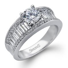 Simon G. 18K White Gold Diamond Baguette Engagement Ring Featuring 1.23 Carats of Baguette and Round Cut Side Diamonds