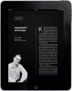 자기소개서1페이지 디지털관련 자기소개서2페이지 아나로그관련 오브제로 반전효과 resolução de diagramação em tablet Kjell Westö iPad Publication by Jonna Koivumäki, via Behance