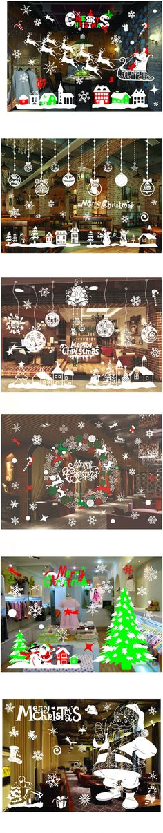 DIY New Snow Town Christmas Wall Stickers Window Glass Showcase Sticker Decorative Wall Decals Adornos Navidad Xmas Home Decor $7.78