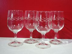 Wine Glasses Mid Century Modern Vintage Etched Dashes And Dots Stem Lot of 4