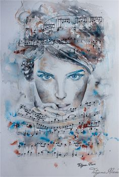 """Tristesse \\ Watercolor by Tatyana Ilieva. \ other pictures on the board """" Ballet, dance, music - painting """" Watercolor Portraits, Watercolor Print, Watercolor Paintings, Oil Paintings, Music Painting, Art Music, Dance Music, Fine Art Photo, Photo Art"""